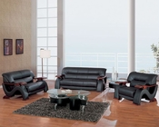 EuroDesign Modern Black Leather Living Room Set GF2033BL