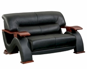 EuroDesign Modern Black Leather Loveseat GF2033LBL