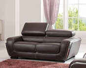 European Design Italian Leather Loveseat in Brown Finish 33SS113
