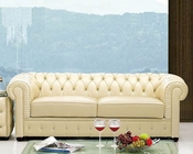 European Design Italian Leather Sofa in Ivory Finish 33SS52