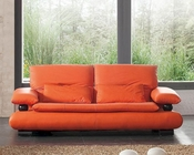 European Design Italian Leather Sofa in Orange Finish 33SS82