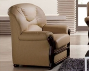 European Design Leather Chair in Beige Finish 33SS284