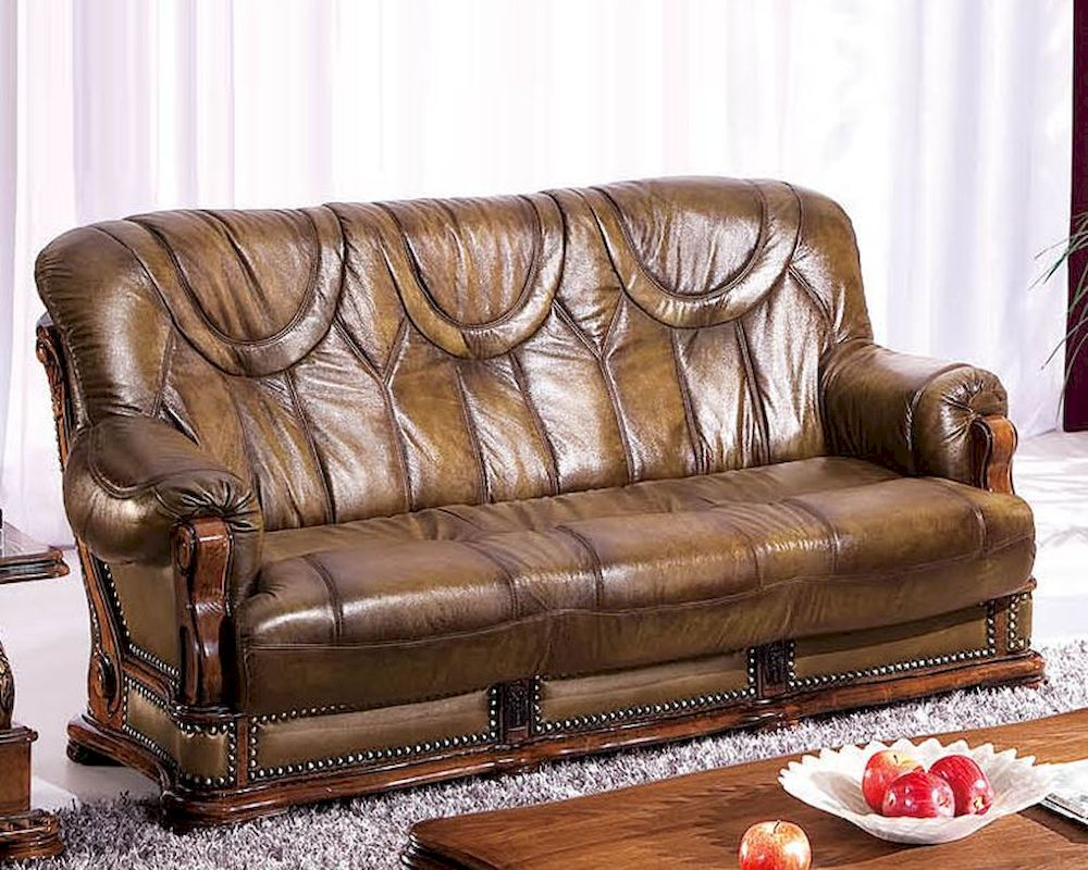 European Design Leather Sofa Bed in Light Brown Finish 33SS182