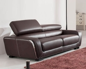 European Design Leather Sofa in Brown Finish 33SS112