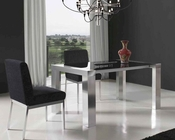 European Dining Set w/ Black Glass Top Table 33D471