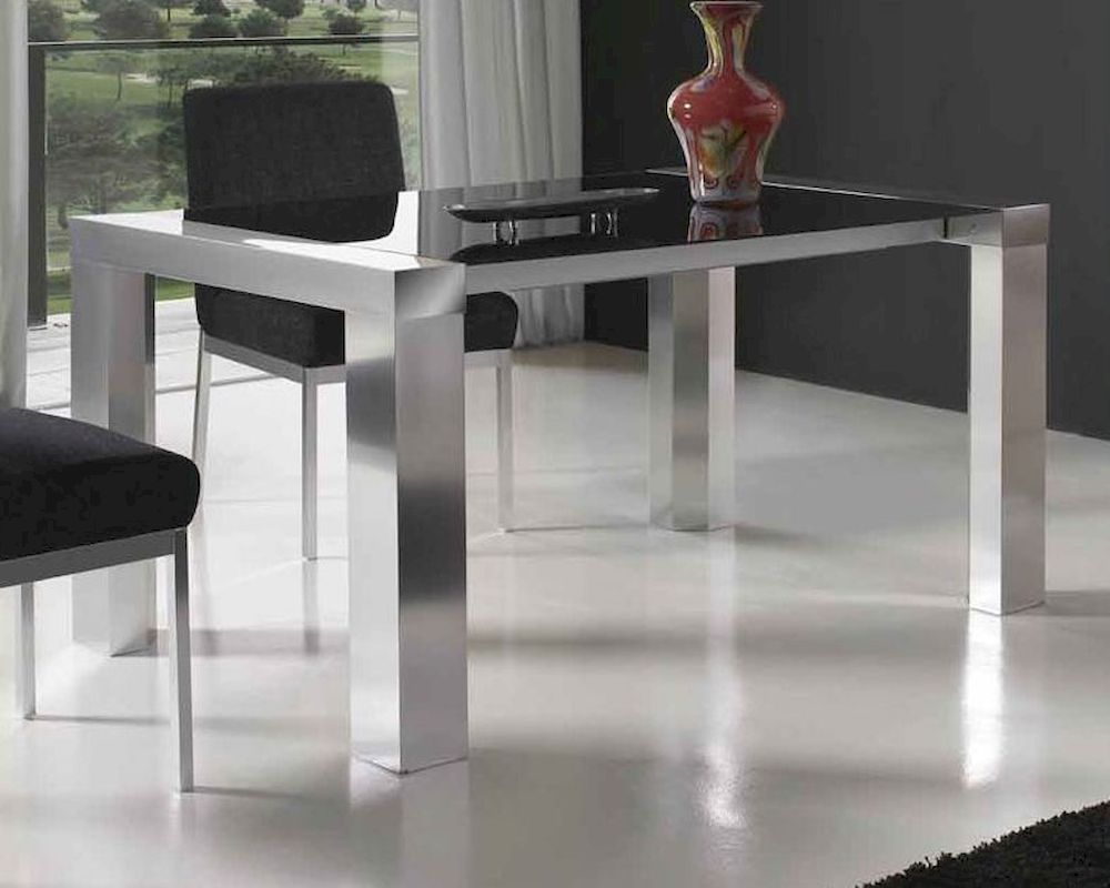 European dining table w black glass top 33b472 for Glass top dining table next