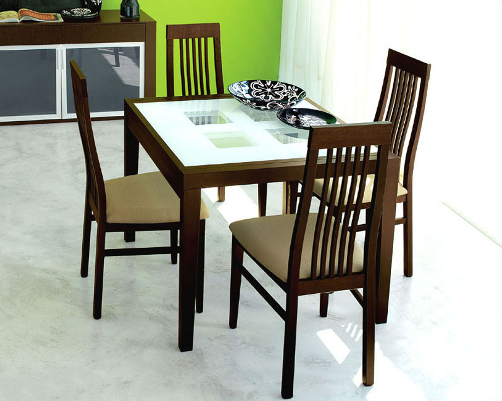 Expandable dining set paloma w frosted glass top table for Glass dining room sets