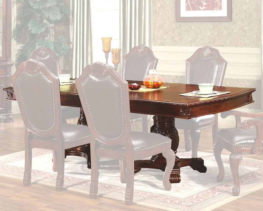 Expandable pedestal dining table in classic cherry mcfd5006 t - Expandable buffet dining table ...