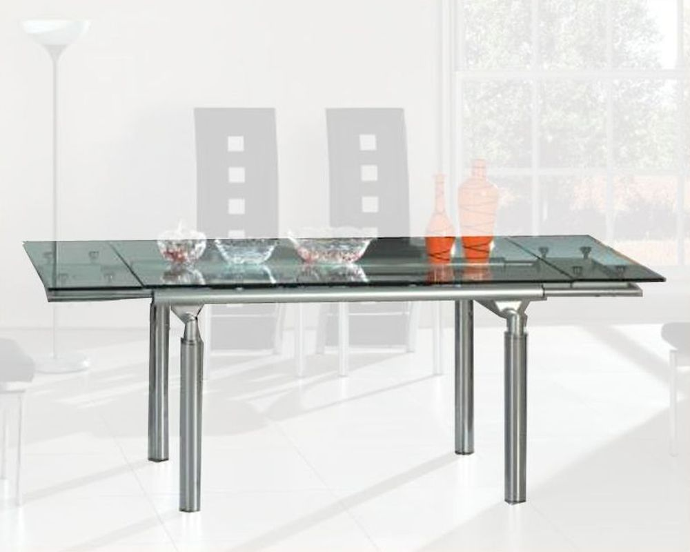 Extension dining table w glass top ol dt06 Table extenders dining room