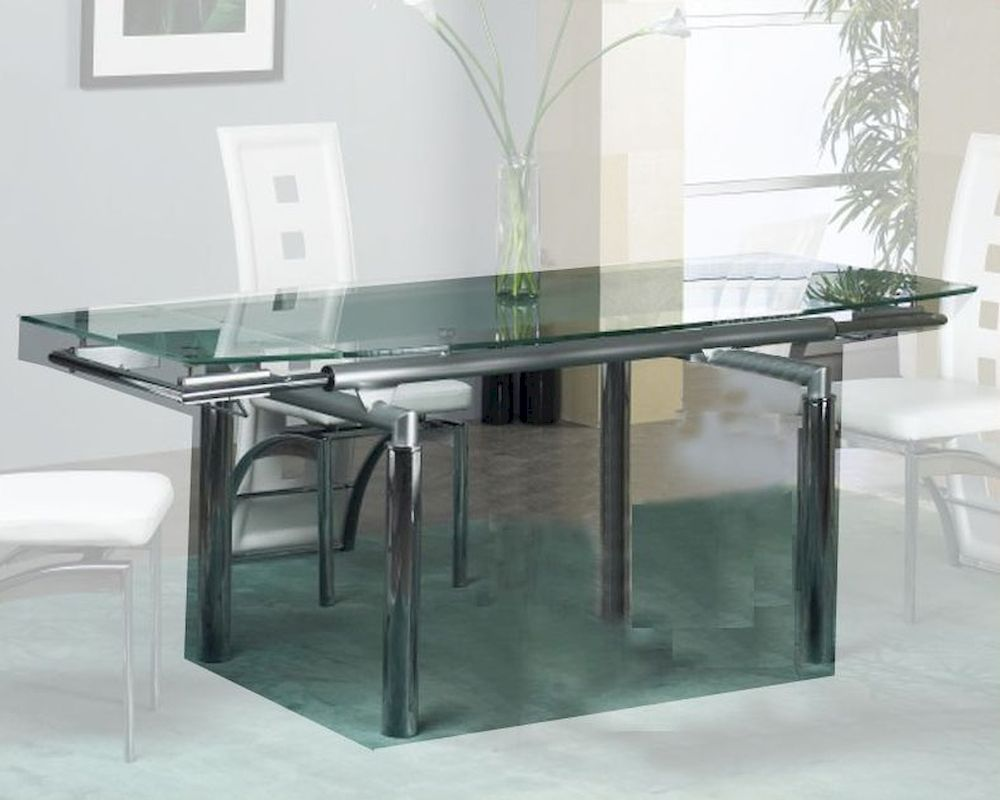 Extension dining table w glass top ol t307 for Glass top dining table next