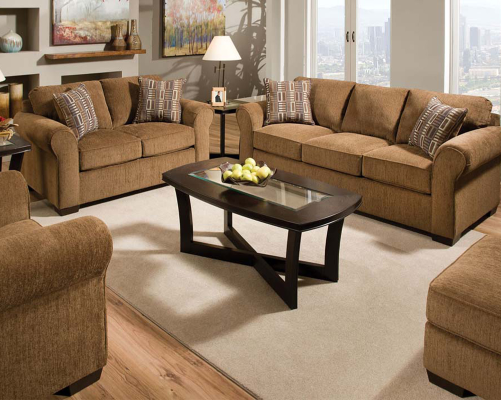 Fabric sofa set torilyn walnut by acme furniture ac51235set for Fabric couches for sale