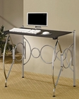 Fold Away Space Saving Desk in Chrome, Silver & Black CO800220
