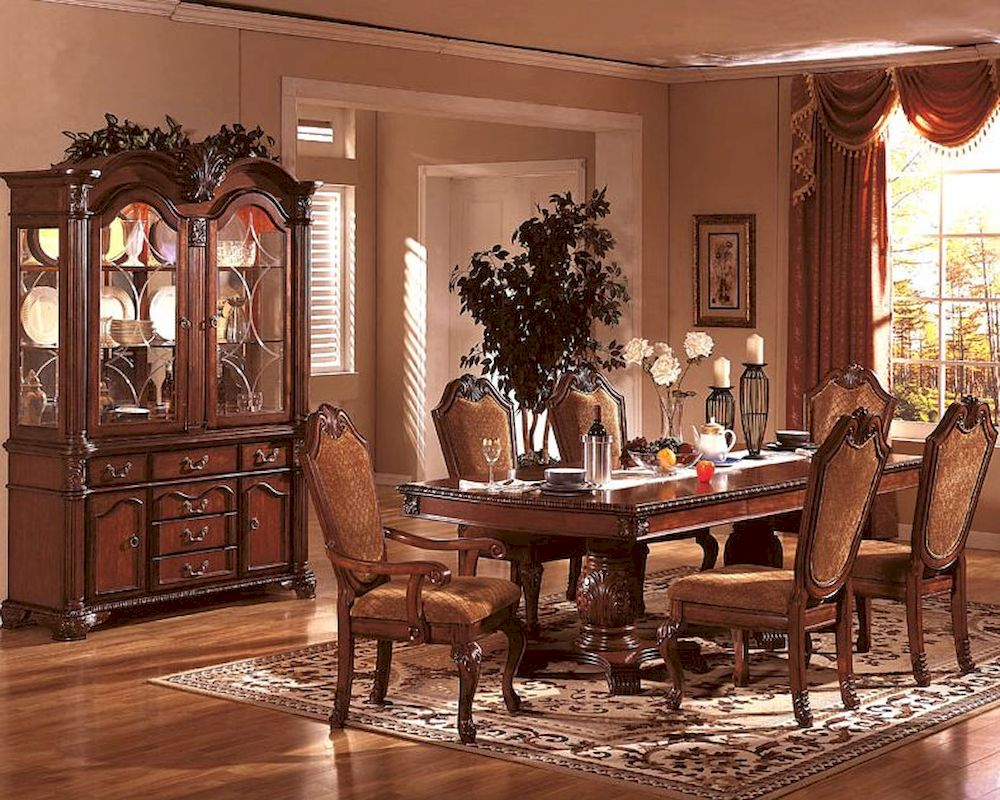 formal dining room set in classic cherry mcfd5006. Black Bedroom Furniture Sets. Home Design Ideas
