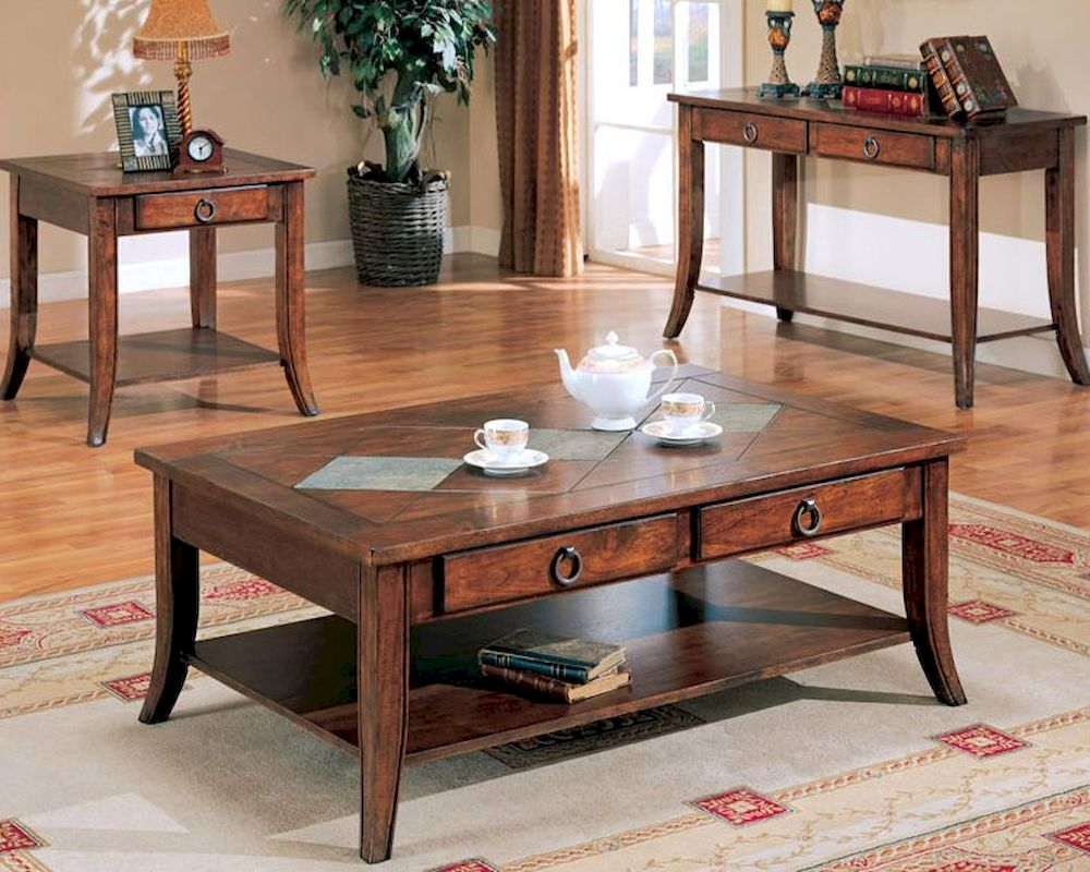 Franklin Cocktail Table Set With Slate Tile Top And