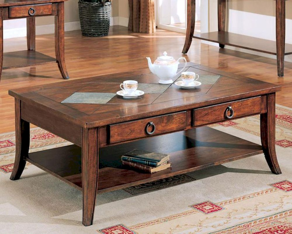 Franklin coffee table with slate tile top and storage co700258 Slate top coffee tables