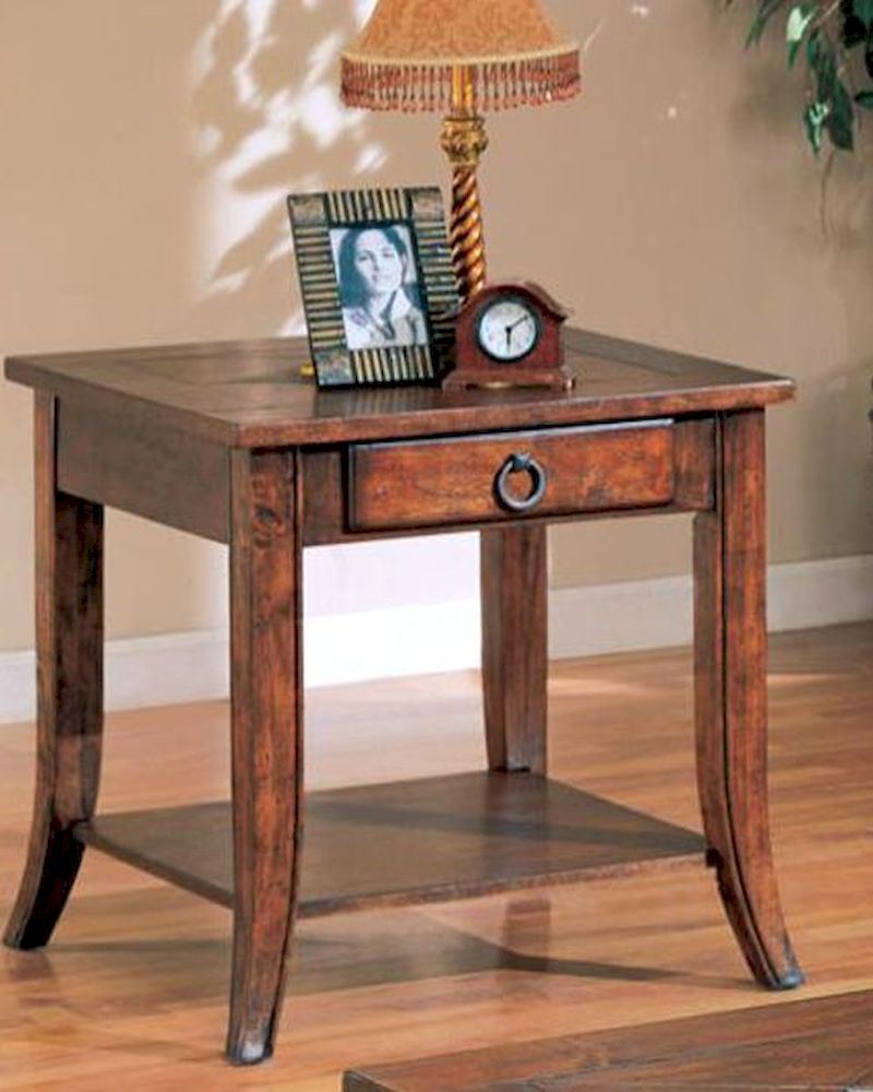 Franklin End Table with Slate Tile Top and Storage CO700257