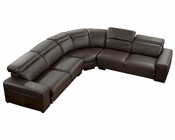 Full Leather Dark Brown Sectional Sofa Set 44LNDR