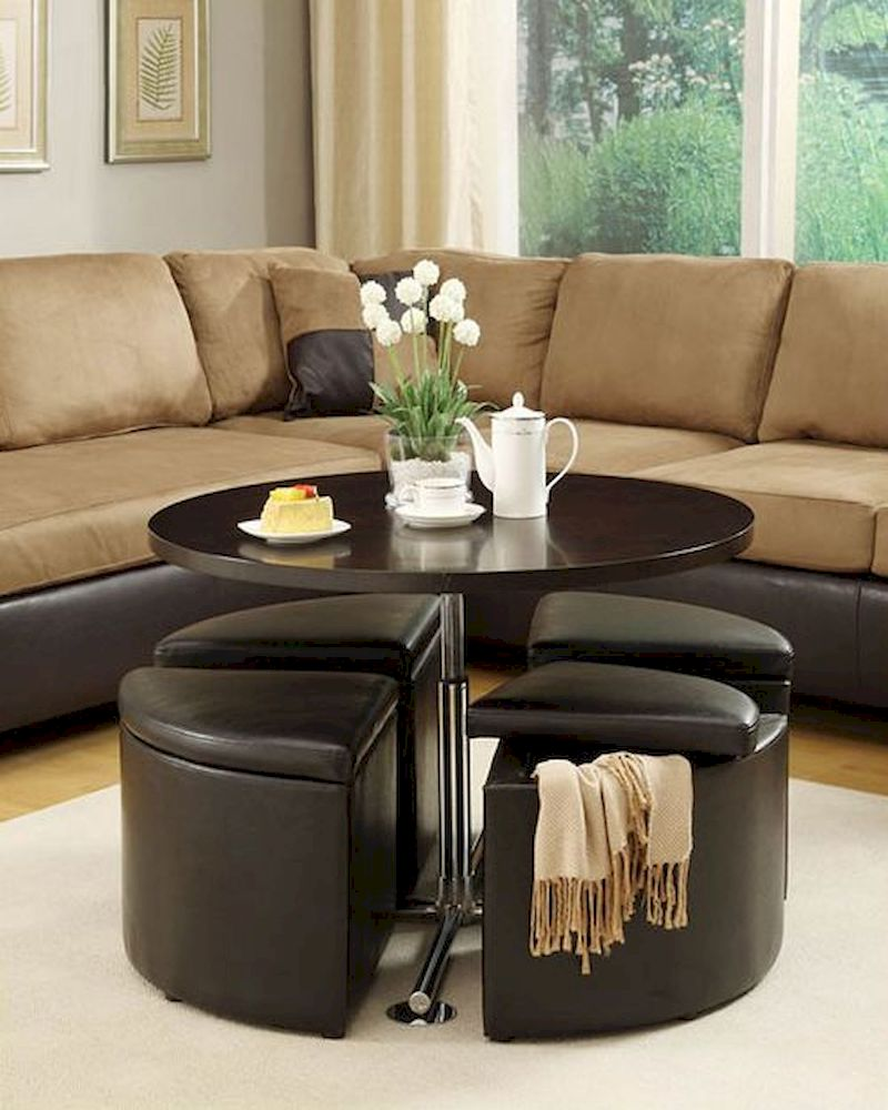 Gas Lift Table W/ 4 Storage Ottomans Rowley By Homelegance