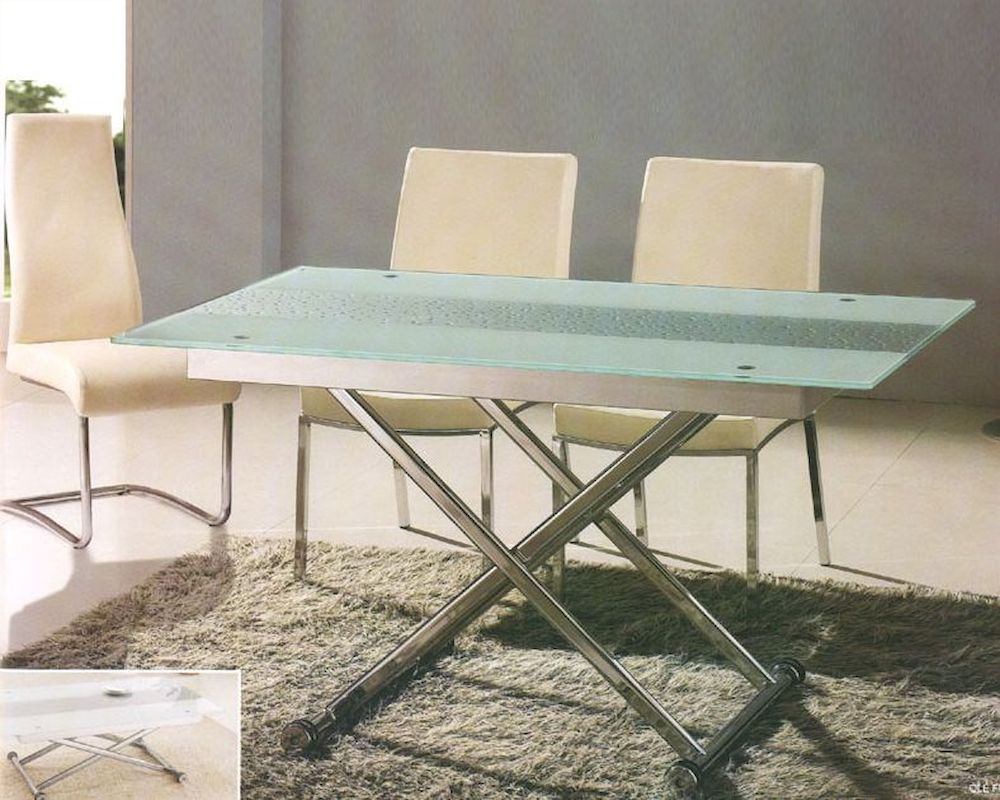 Glass top dining set with adjustable height table ol 4 for Glass top dining table next