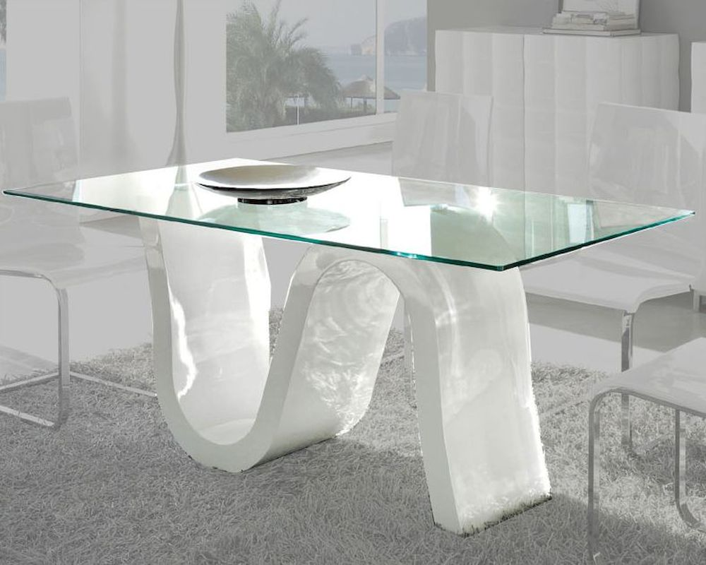 Glass top dining table made in spain wave 33221wv for Glass top dining table next