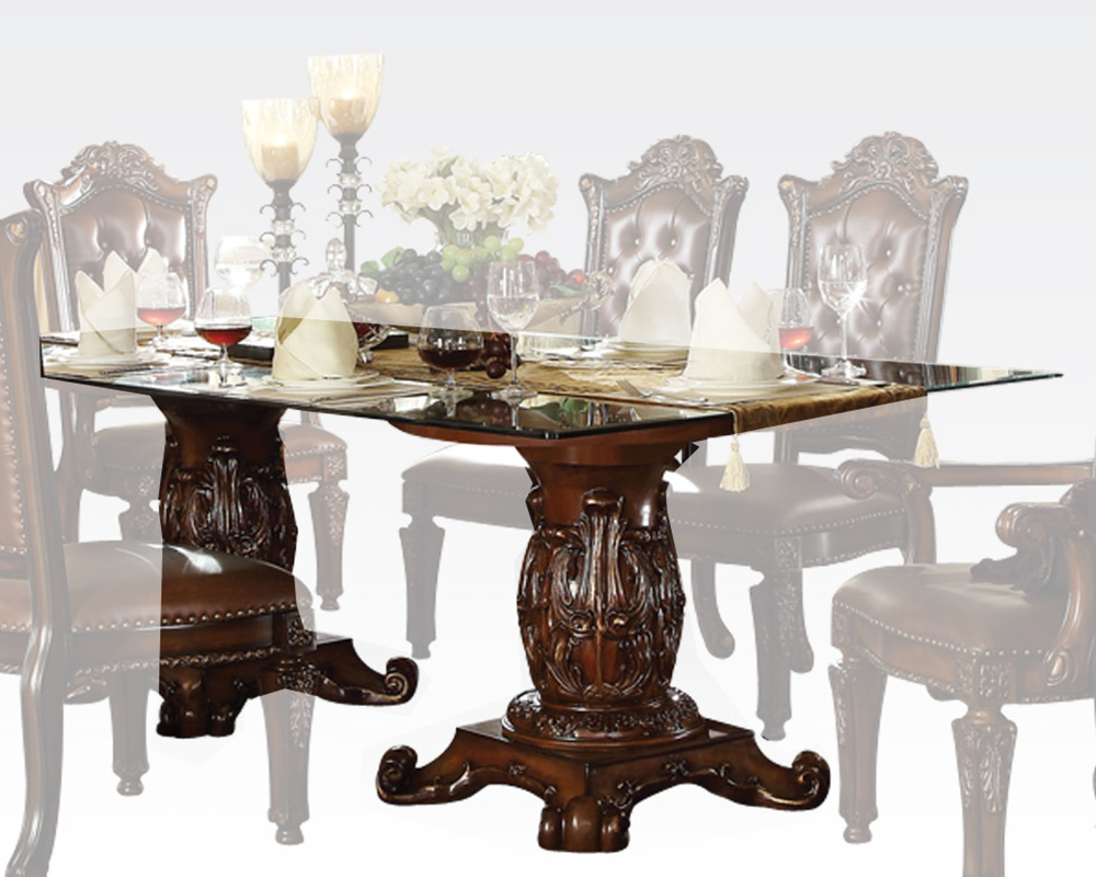 Glass top dining table vendome cherry by acme furniture for Glass top dining table next