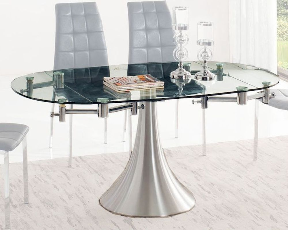 Glass top dining table w extension 33 t017 for Glass top dining table next