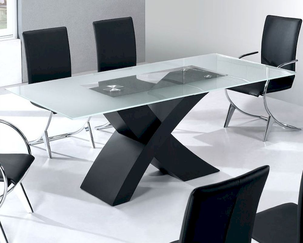Glass top modern dining table moderno european design 33d192 for Dining table design photos