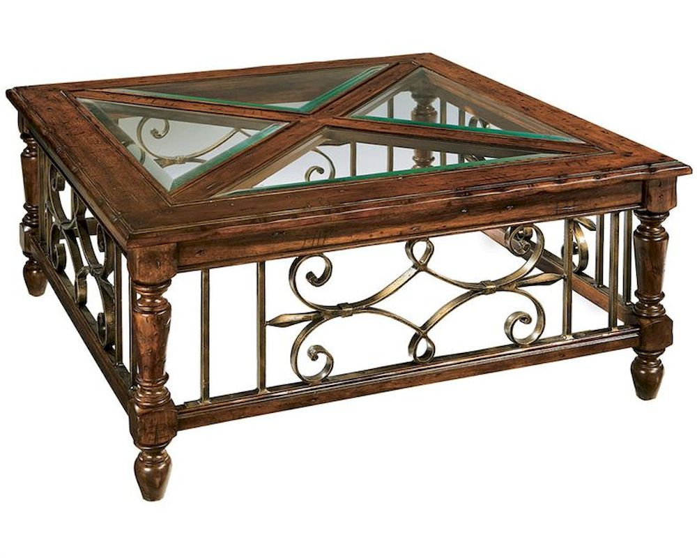 Glass wood coffee table rue de bac square by hekman he 87215 for Wood coffee table with glass insert