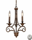 ELK Gloucester 3-Light Chandelier in Antique Bronze With Adapter Kit EK-15041-3-LA