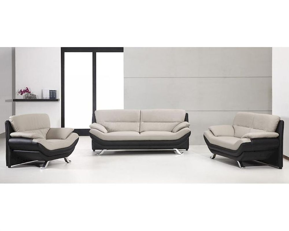Grey and black bonded leather sofa set in contemporary for Leather sofa and loveseat set