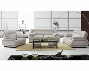 Grey Leather Sofa Set in Contemporary Style 44L3929B
