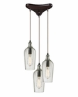 ELK Hammered Glass Collection 3 Light Chandelier in Oil Rubbed Bronze EK-10331-3CLR