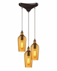 ELK Hammered Glass Collection 3 Light Chandelier in Oil Rubbed Bronze EK-10331-3HAMB