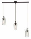 ELK Hammered Glass Collection 3 Light Chandelier in Oil Rubbed Bronze EK-10331-3L-CLR