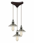 ELK Hammered Glass Collection 3 Light Chandelier in Oil Rubbed Bronze EK-10332-3