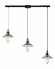 ELK Hammered Glass Collection 3 Light Chandelier in Oil Rubbed Bronze EK-10332-3L