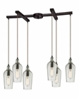 ELK Hammered Glass Collection 6 Light Chandelier in Oil Rubbed Bronze EK-10331-6CLR