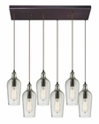 ELK Hammered Glass Collection 6 Light Chandelier in Oil Rubbed Bronze EK-10331-6RC-CLR