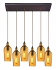 ELK Hammered Glass Collection 6 Light Chandelier in Oil Rubbed Bronze EK-10331-6RC-HAMB