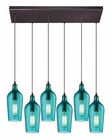ELK Hammered Glass Collection 6 Light Chandelier in Oil Rubbed Bronze EK-10331-6RC-HAQ