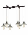 ELK Hammered Glass Collection 6 Light Chandelier in Oil Rubbed Bronze EK-10332-6