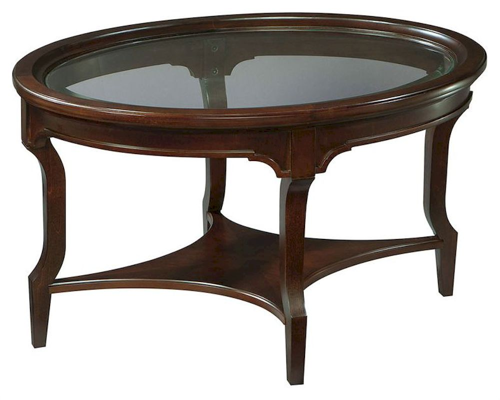 Hekman oval glass coffee table new traditions he 951202nt for Oval glass coffee table
