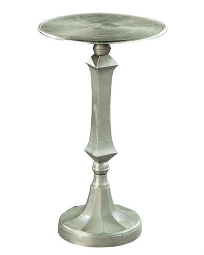 Hekman Pedestal Side Table Antique Pewter He 27435