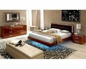 High Gloss Bedroom Set with Leather Accents 33B141