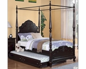 Homelegance Canopy Poster Bed Cinderella in Dark Cherry EL-1386PNCBED