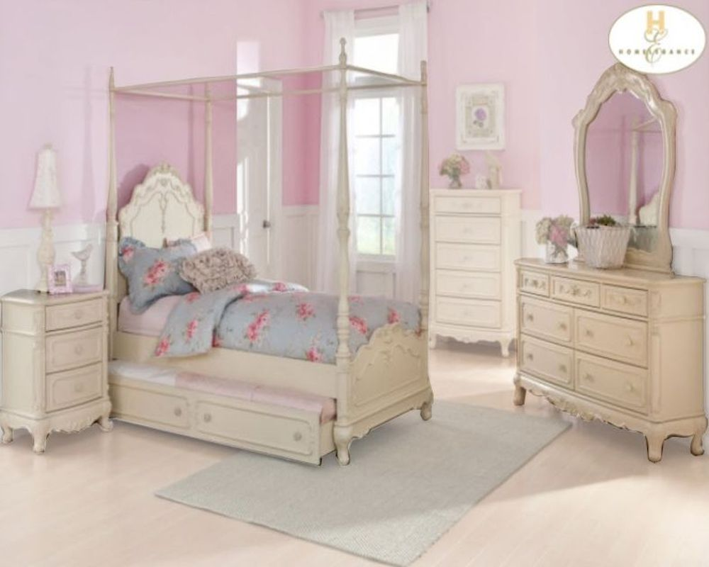 & Homelegance Canopy Poster Bedroom Set Cinderella EL-1386PP-1SET
