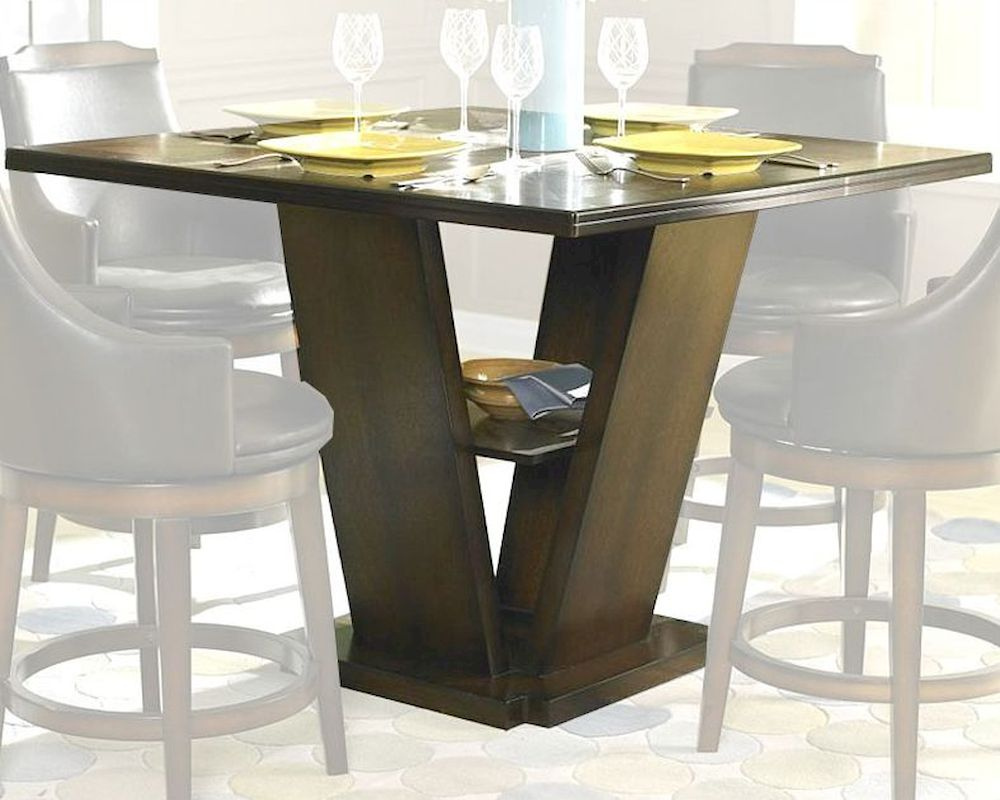 Homelegance counter height pedestal dining table bayshore for Counter height dining table