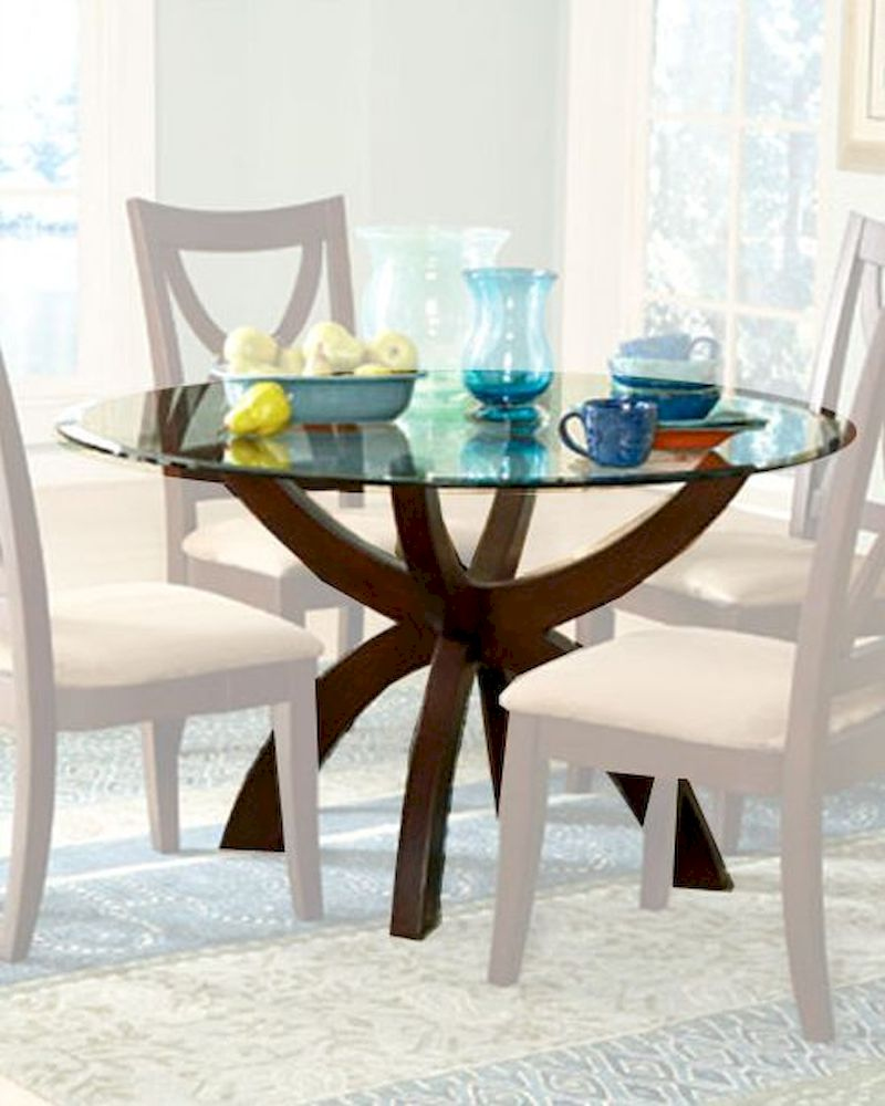 Homelegance glass top round dining table stardust el 5312 for Glass top dining table next