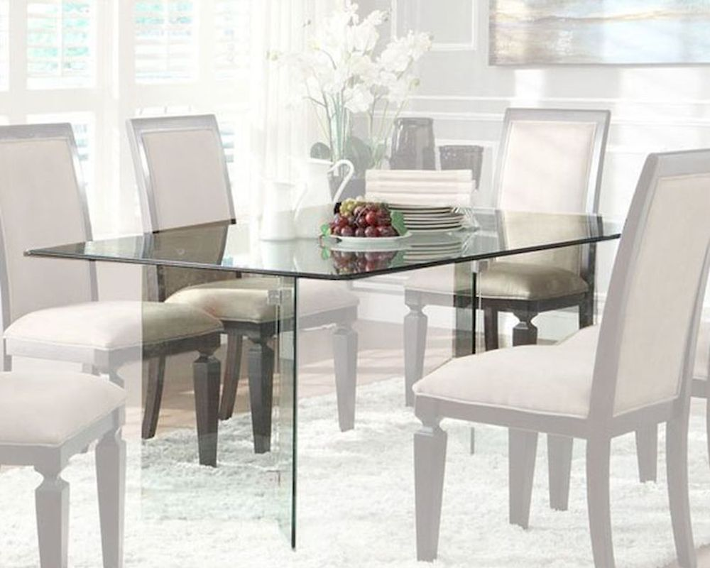 Homelegance rectangle glass dining table alouette el 17813 for Rectangle dining table