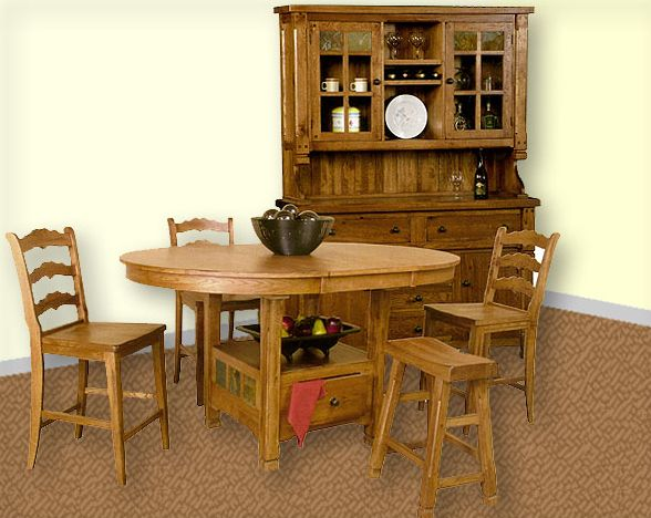 honey oak dining room set su-1247ros